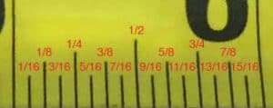 what is half of 3/4 on a tape measure